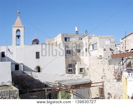 Old houses near Church of St John in the old city of Acre Akko Israel