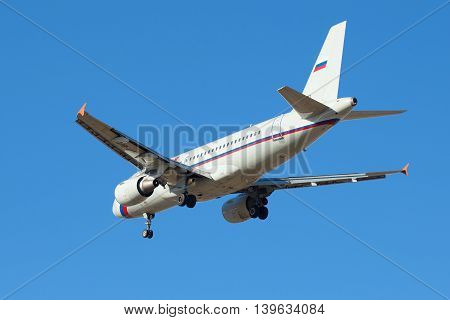ST. PETERSBURG RUSSIA - MARCH 20 2016: Airbus A319-111 (VP-BIT) of airline
