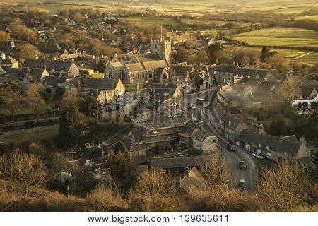 Landscape Of Corfe Village In Dorset During Beautiful Sunset