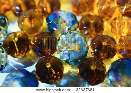 Abstract background with transparent shiny glass beads macro