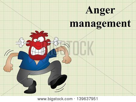 Anger management on graph paper background with copy space for own text, vector