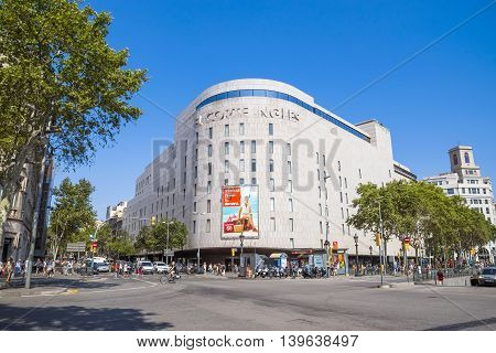 BARCELONA SPAIN - JULY 5 2016: Facade of the mall