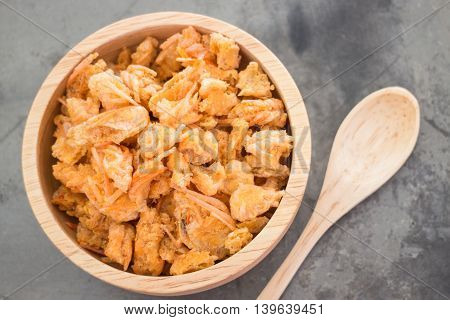 Fried crispy shrimp head snack stock photo