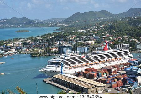 CASTRIES ST LUCIA CARIBBEAN 19 January 2015: Cruise Ship in Capital of St Lucia