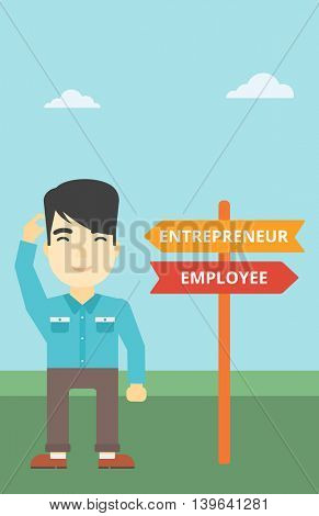An asian young man standing at road sign with two career pathways. Man choosing career pathway. Man making a decision of his career pathway. Vector flat design illustration. Vertical layout.