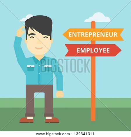 An asian young man standing at road sign with two career pathways. Man choosing career pathway. Man making a decision of his career pathway. Vector flat design illustration. Square layout.