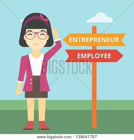An asian young woman standing at road sign with two career pathways. Woman choosing career pathway. Woman making a decision of her career pathway. Vector flat design illustration. Square layout.