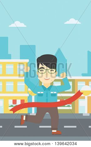 An asian young businessman running at the finish line. Businessman crossing finish line. Concept of business success. Vector flat design illustration. Vertical layout.