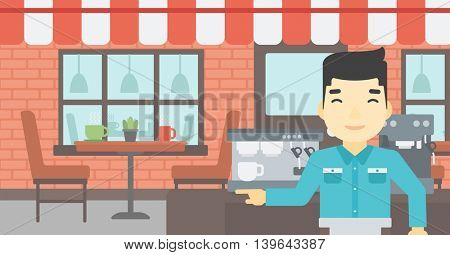 An asian young barista sanding in front of coffee machine. Barista at coffee shop. Professional barista making a cup of coffee. Vector flat design illustration. Horizontal layout.