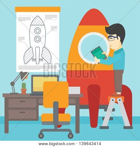 An asian man standing on ladder and engeneering a rocket. Man working on the start up of a new business. Business start up concept. Vector flat design illustration. Square layout.
