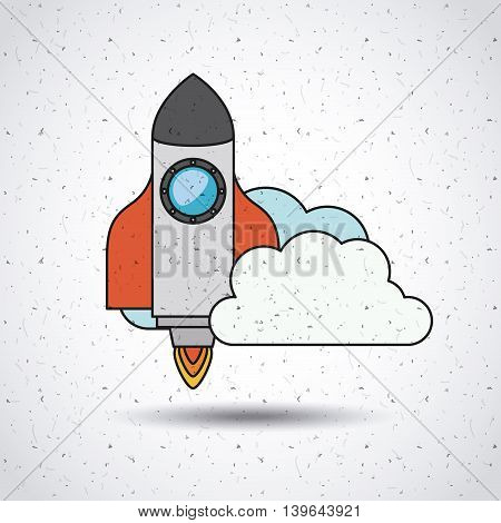 rocket launch with clouds  isolated icon design, vector illustration  graphic