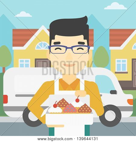 An asian smiling baker holding a box of cakes. Baker delivering cakes. A baker with cupcakes standing on the background of delivery truck. Vector flat design illustration. Square layout.
