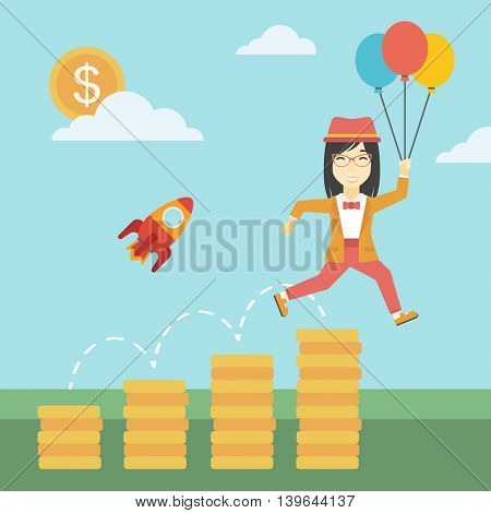 An asian business woman with balloons flying over golden coins and a business start up rocket flying nearby. Business start up and growth concept. Vector flat design illustration. Square layout.