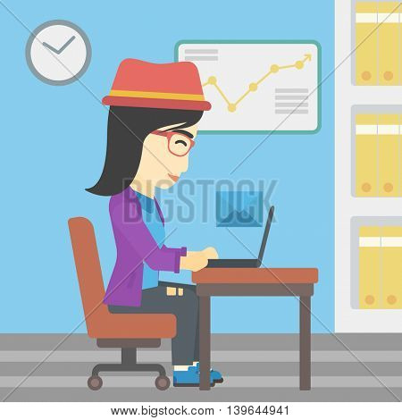 An asian  young business woman working on her laptop in office and receiving or sending email. Business technology, email concept. Vector flat design illustration. Square layout.