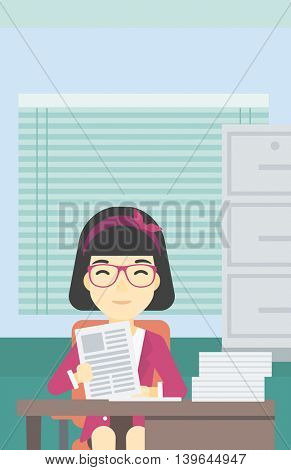 An asian  human resources manager reading application portfolios in the office. Concept of recruitment of staff, job interview. Vector flat design illustration. Vertical layout.