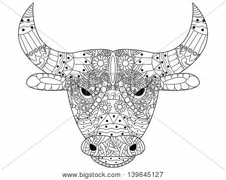 Head bull coloring book for adults vector illustration. Anti-stress coloring for adult. Cow zentangle style. Black and white lines. Lace pattern