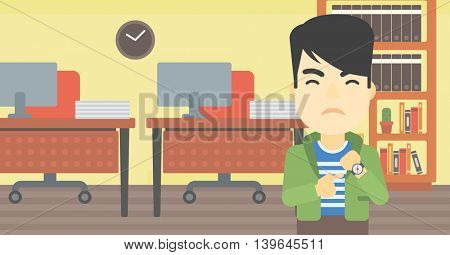 An asian  angry businessman standing in the office and pointing at his wrist watch. Concept of late to work. Vector flat design illustration. Horizontal layout.
