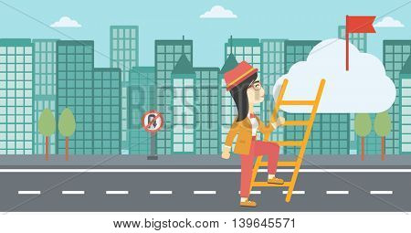 An asian young business woman climbing up the ladder to get the red flag on the top of the cloud on a city background. Vector flat design illustration. Horizontal layout.
