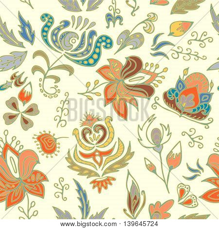 stock vector seamless floral pattern for printing on paper fabric. Indian arabic russian or orient ornament