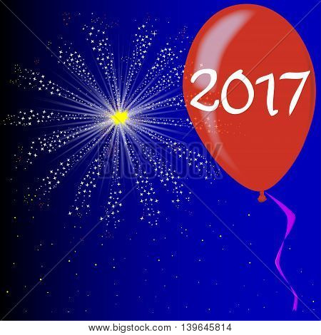 A flyaway red balloon with a skyrocket explosion with fallout and the text 2017