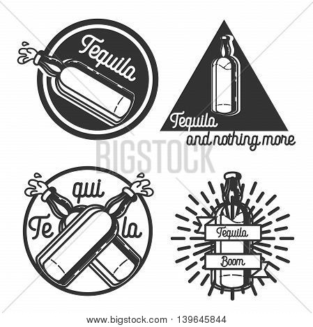 Vector set of tequila labels in vintage style. Mexican alcohol drink, berida. Hand drawn menu design elements, icons, logo, emblems and badges isolated on white background.