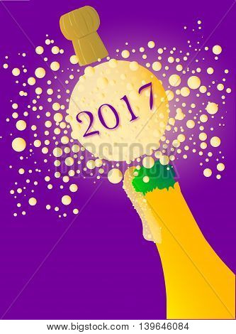 Champagne bottle being opened with froth and bubbles with a large bubble exclaiming 2017