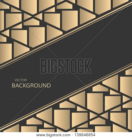 Vector geometrical background. Geometric golden design. Abstract background. Black background with golden shattered tiles in luxury design.
