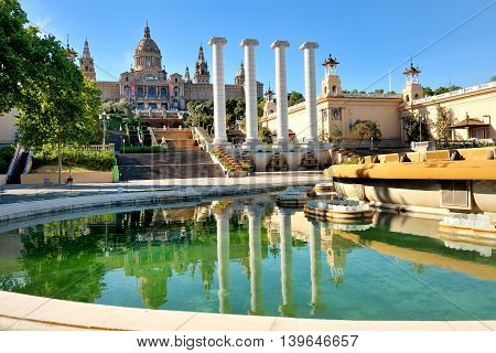 National art museum and fountain in placa de Espanya Barcelona Spain