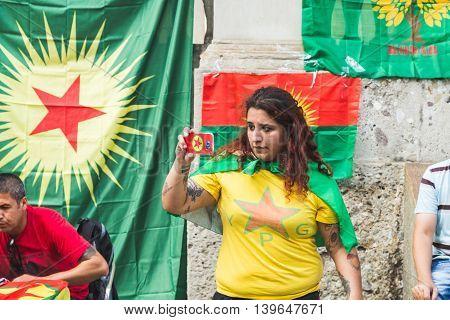 Kurdish Activist Protesting In Milan, Italy