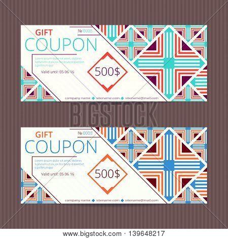 Gift voucher with elegant retro design. Gift card template. Coupon discount set. Voucher vector design. Coupon vector template.
