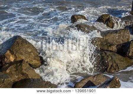 Sea wave Black Sea Poti Georgian coast.