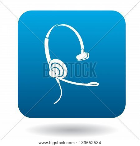 Earphone with mic for consultations icon in flat style in blue square. Device symbol
