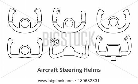 Set of 6 aircraft control wheels thin line style icons isolated on white background. Aircraft steering helms outline symbols. Vector illustration in EPS8 format.