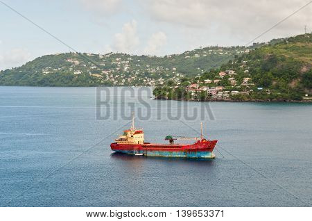 St. George's Grenada - December 3 2011: General cargo ship