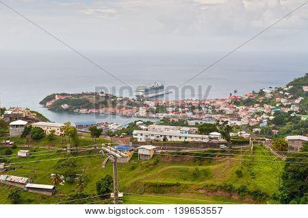 Saint George's Grenada - December 3 2011: Panorama view over Saint George's on December 3 2011 in Grenada Caribbean.