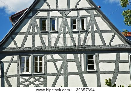 facade of old german renovated half timbered houses