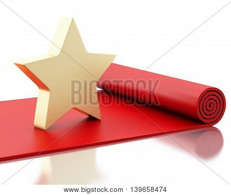 3d renderer image. Red carpet with a big star. Isolated white background.