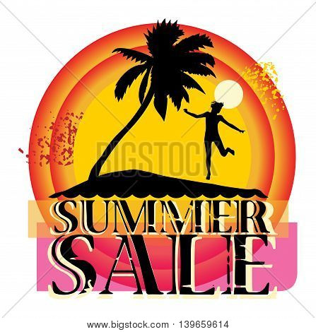 Summer sale abstract sticker or label, vector illustration
