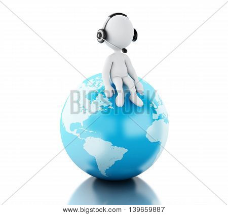 3d renderer image. Support people on top of globe. Isolated white background.