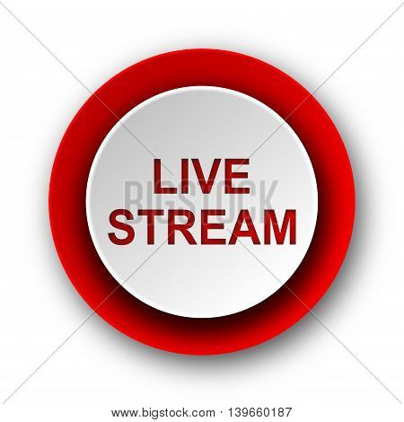 live stream red modern web icon on white background