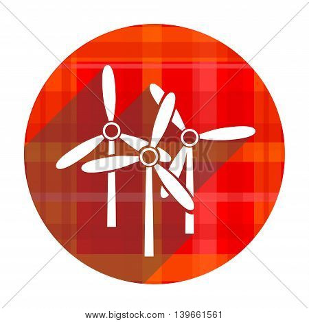 windmill red flat icon isolated on white background