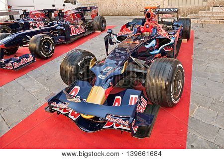 BRISIGHELLA, RA, ITALY  - JULY 17: the Formula One racing car Toro Rosso STR3, It was driven by S. Vettel to victory in the Italian Grand Prix 2008, exposed during the meeting