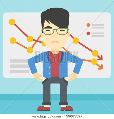 An asian young businessman showing his epmty pockets on the background of board with decreasing chart. Bankruptcy concept. Vector flat design illustration. Square layout.