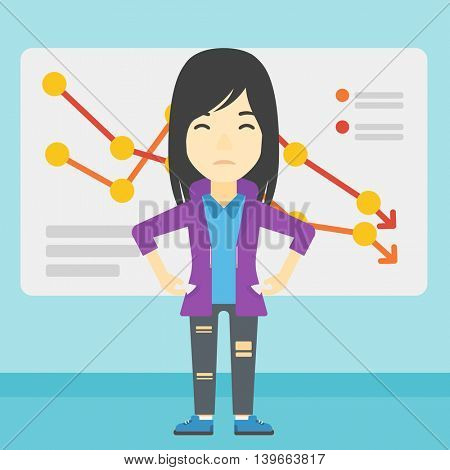 An asian young business woman showing her epmty pockets on the background of a board with decreasing chart. Bankruptcy concept. Vector flat design illustration. Square layout.
