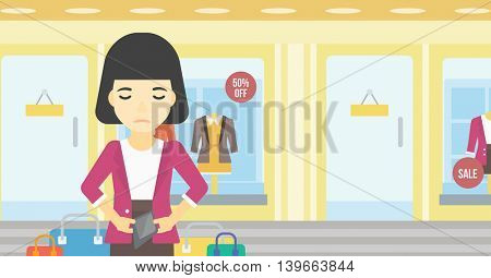 An asian young woman showing her epmty wallet on the background of showcase of a store. Bankruptcy concept. Vector flat design illustration. Horizontal layout.