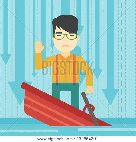 An asian scared businessman standing in a sinking boat and asking for help. Concept of business bankruptcy. Vector flat design illustration. Square layout.