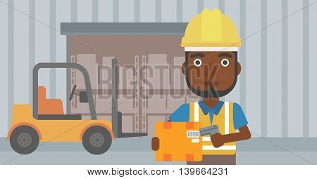An african-american warehouse worker scanning barcode on box. Warehouse worker checking barcode of box with a scanner. Man in hard hat with scanner. Vector flat design illustration. Horizontal layout.