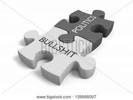 Two joined puzzle pieces with the words politics and bullshit, 3D rendering