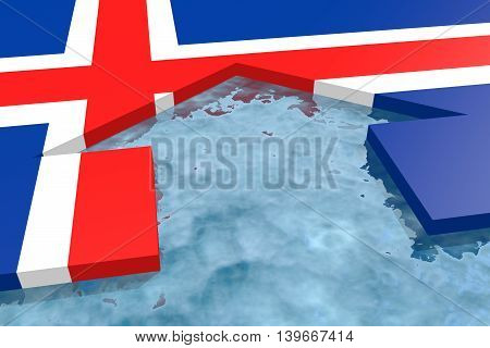 home icon in the water textured by Iceland flag. 3D rendering