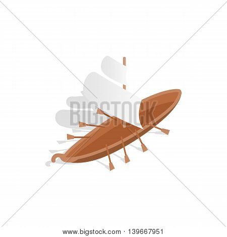 Ship with oars icon in isometric 3d style isolated on white background. Maritime transport symbol